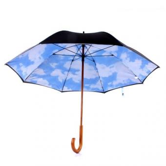 Wooden Handle J Shaped Stick umbrella