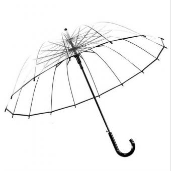 16 Ribs Walking Stick Plastic Umbrella